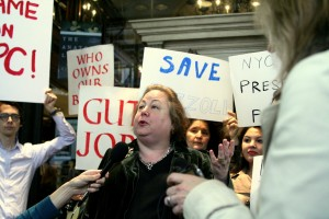 Sen. Krueger Speaks at Rally Outside Rizzoli Bookstore
